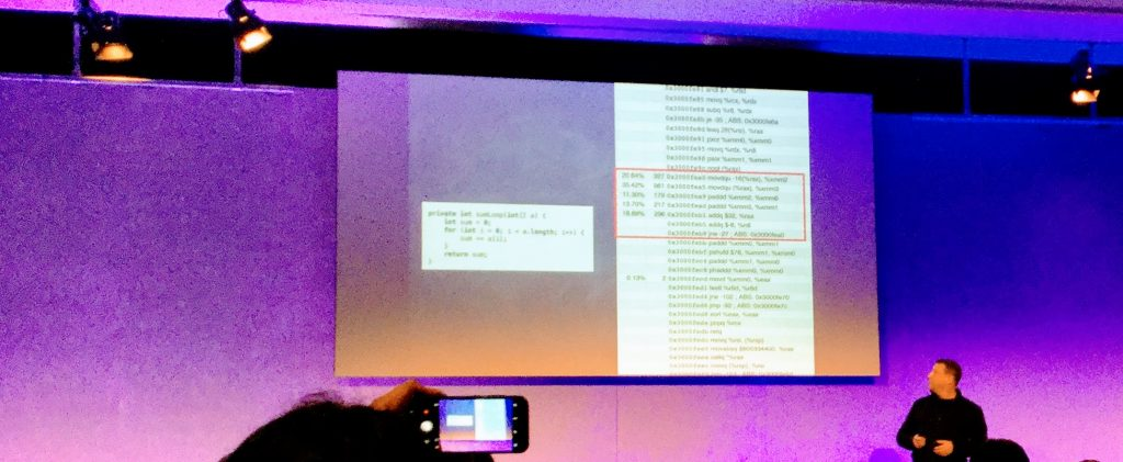 Gil Tene showing assembler code generated by the JIT Compiler